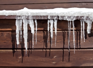 Icicles on Log Cabin