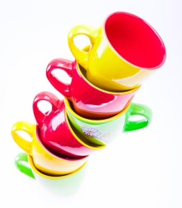 Beautiful yellow, red, green color cups